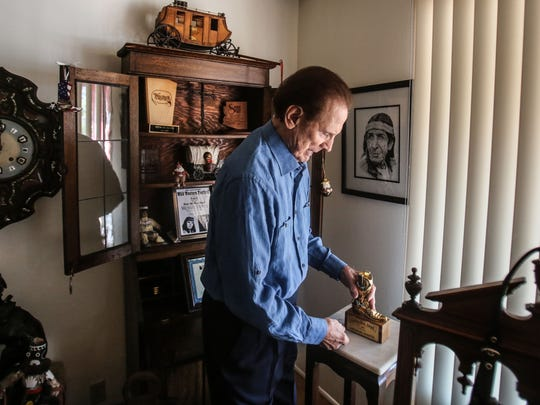 Actor and author Michael Dante about to pick up his 2003 Golden Boot award at his home in Rancho Mirage on Friday, September 1, 2017.