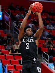 Butler Bulldogs guard Kamar Baldwin (3) shoots in the