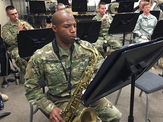 Spc. Benjamin Newsome recently rehearses along with
