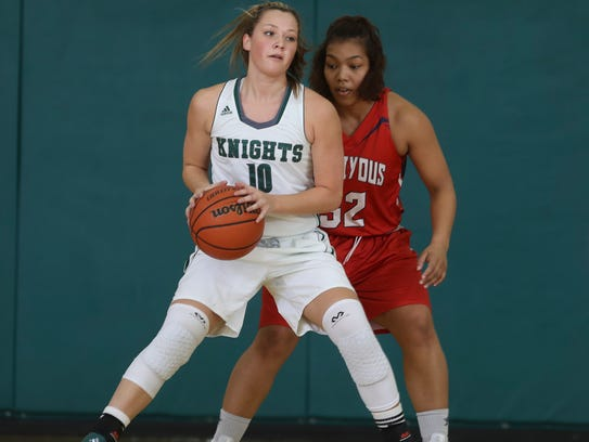Shasta College's Devan Nielsen looks to get the ball