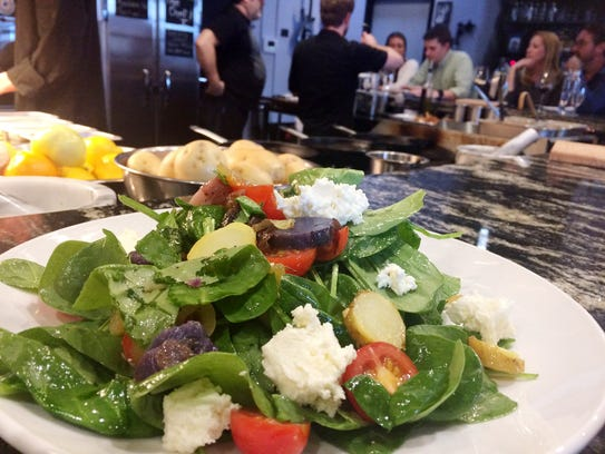 Northwest Baby Spinach Salad with fingerling potatoes,