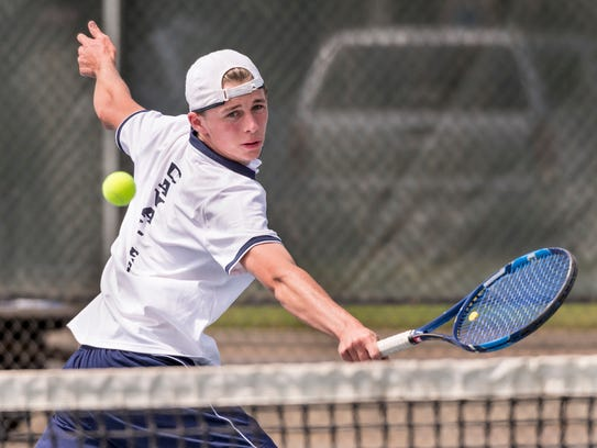Central Valley Christian's Travis Lemstra plays against