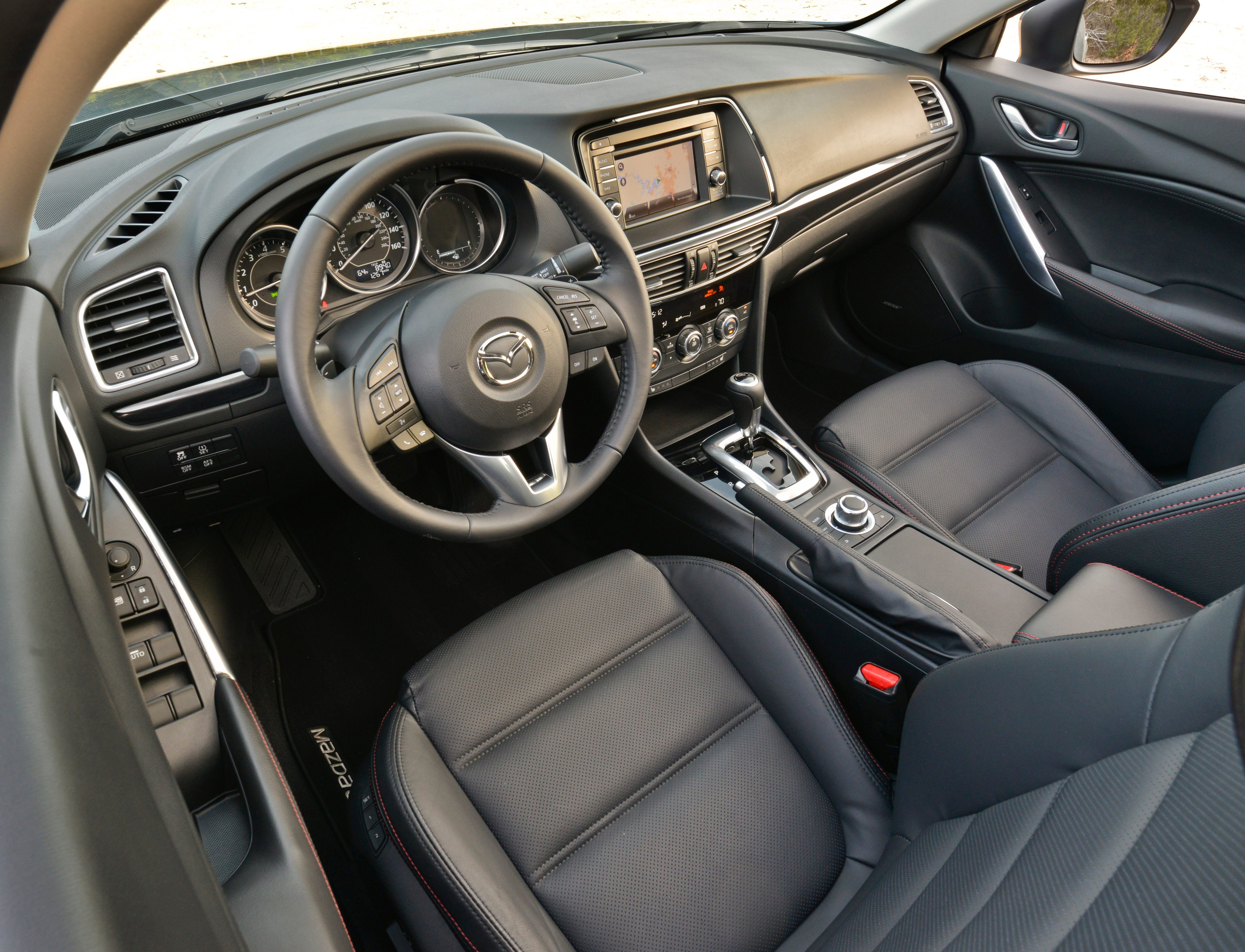 The interior of the new Mazda6 is an upgraded design that does not fall short of the classy look for which Mazda has been known.