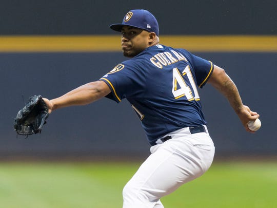 Brewers pitcher Junior Guerra gave up two earned runs,