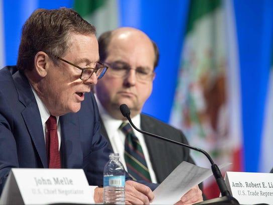U.S. Trade Representative Robert E. Lighthizer, left,