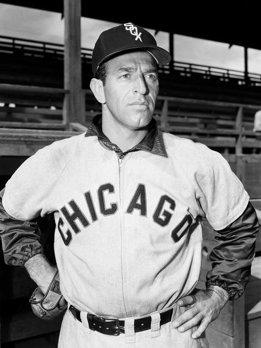 "In this Feb. 20, 1953, file photo,  Manuel ""Jungle Jim"" Rivera, of the Chicago White Sox 1953, poses. Rivera, an outfielder on the 1959 ""Go-Go"" White Sox pennant-winning team, has died Monday night in Fort Wayne, Ind. the team said Tuesday, Nov. 14, 2017. He was 96. (AP Photo/File)"