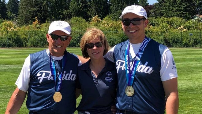 Bob, Gina and Adam Rall helped coach and play the Brevard Banditz to their second straight gold medal in softball at the Special Olympics USA Games.