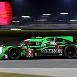 Jan 31, 2016; Daytona Beach, FL, USA; The Tequila Patron Ligier driven by Scott Sharp, Ed Brown, Johannes van Overbeek and Luis Felipe Derano (2) during the Rolex 24 at Daytona International Speedway. Mandatory Credit: Jasen Vinlove-USA TODAY Sports