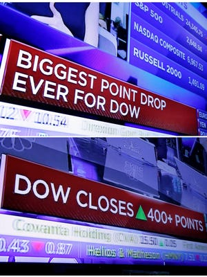 In this combo of file photos taken on the floor of the New York Stock Exchange, a television screen headlines the stock index news at the close of trading on Monday, Feb. 5, 2018, top, and a television screen headlines the Dow Jones industrial average on Monday, Feb. 12. This year, volatility returned to the markets, including the first drop of 10 percent for the S&P 500 in roughly two years.