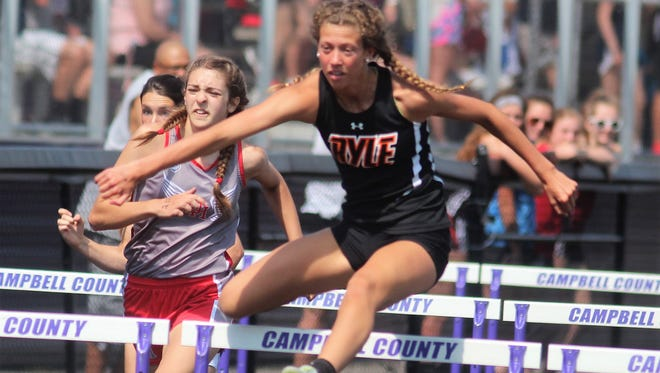Ryle senior Maddie Bloemer in the 100 hurdles  during the KHSAA Class 3A, Region 5 track and field championships May 12, 2018 at Campbell County HS, Alexandria KY.