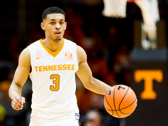Tennessee guard James Daniel III (3) dribbles down the court during a game between Tennessee and South Carolina at Thompson-Boling Arena in Knoxville, Tennessee on Tuesday, February 13, 2018.