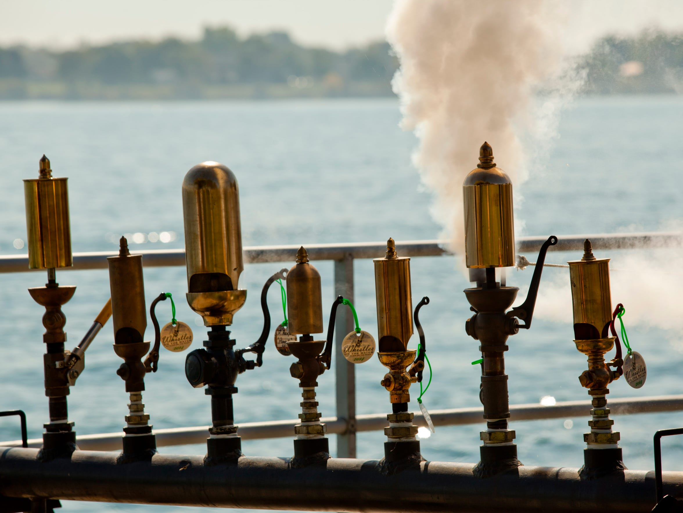 A small steam whistle is blown during Whistles on the