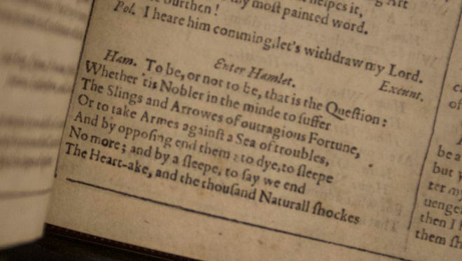 A look inside the First Folio from 1623 the that contains Shakespeare's works, on loan to the Montgomery Museum of Fine Arts for the month of October.