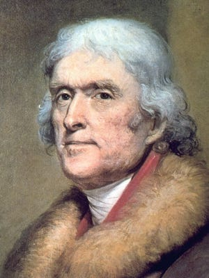 Thomas Jefferson, third President of the United States from 1801 to 1809, is portrayed by artist Rembrandt Peale in this ca. 1805 portrait.