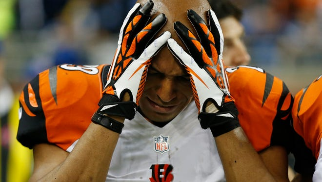 Cincinnati Bengals cornerback Leon Hall (29) was visibly upset after his first half injury against the Detroit Lions at Ford Field in Detroit.