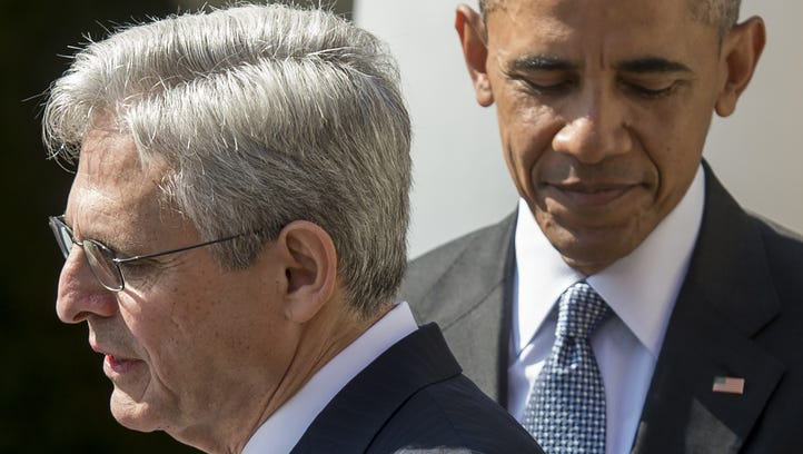 President Obama joins his Supreme Court nominee, federal appeals court judge Merrick Garland, during the nomination announcement the Rose Garden of the White House March 16.