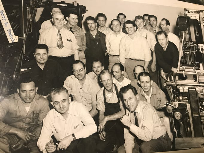 Printing staff at The Salinas Californian pose for