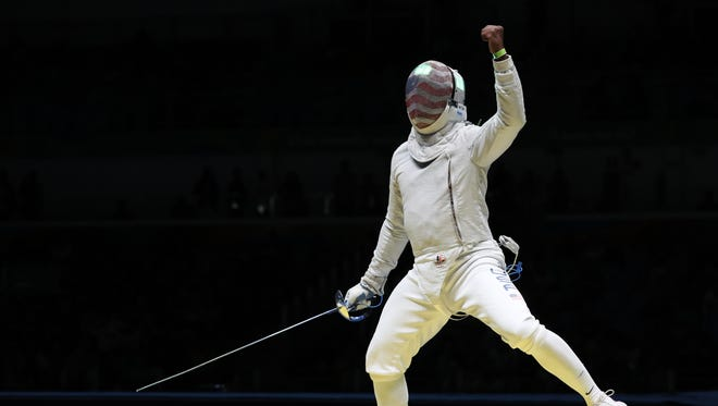 Daryl Homer (USA) reacts as he competes against Matyas Szabo (GER) in the men's sabre individual quarterfinal at Carioca Arena 3 during the Rio 2016 Summer Olympic Games on Aug. 10.