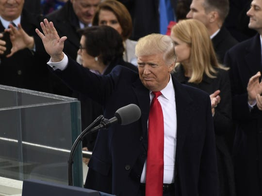 Donald Trump waves to the crowd after giving his inaugural speech on Friday, Jan. 20. 2017.