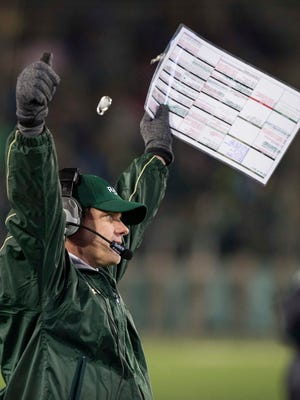 CSU football coach Mike Bobo, shown celebrating after a big play by his team in a Nov. 19 win over New Mexico at Hughes Stadium, said there's a lot for him and his players to be excited about as they look toward the 2017 season.