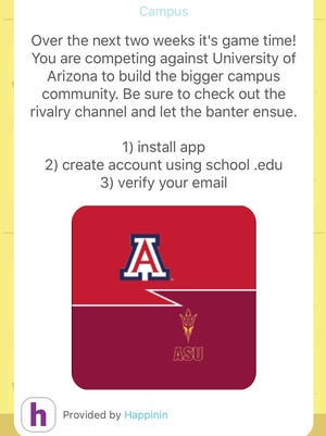 The ASU vs. UA Rivalry page on the Happinin app.