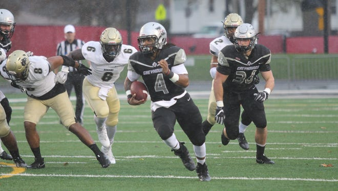 Al McKeller scored twice for UIndy in the Greyhounds' first-round playoff game against Harding.
