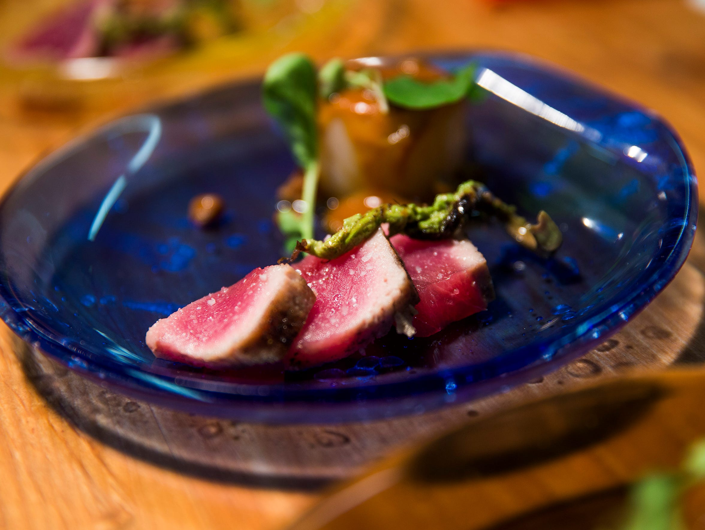 Charcoal seared Bluefin tuna at Binkley's Restaurant.