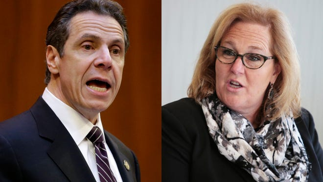 Left, Feb. 2, 2015, file photo, New York Governor Andrew Cuomo (AP Photo/Seth Wenig); right, Karen Magee, NYSUT president, March 16, 2015. (Ricky Flores/The Journal News)