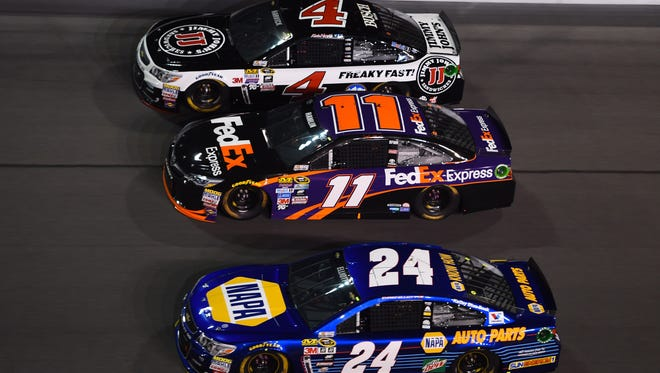 Chase Elliott (24), Denny Hamlin (11) and Kevin Harvick (4) are three driver that could contend for the 2017 NASCAR Cup Series championship.