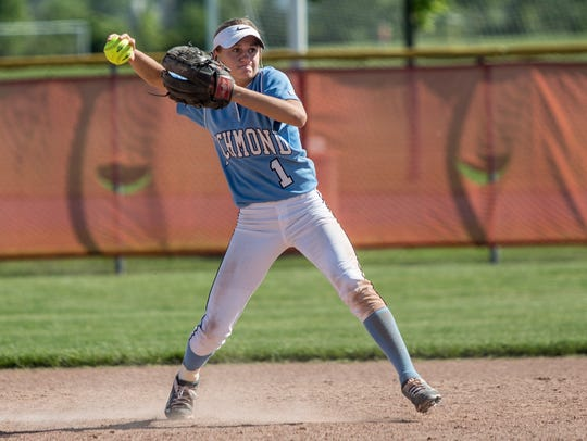 Richmond's Carley Barjaktarovich throws to first for