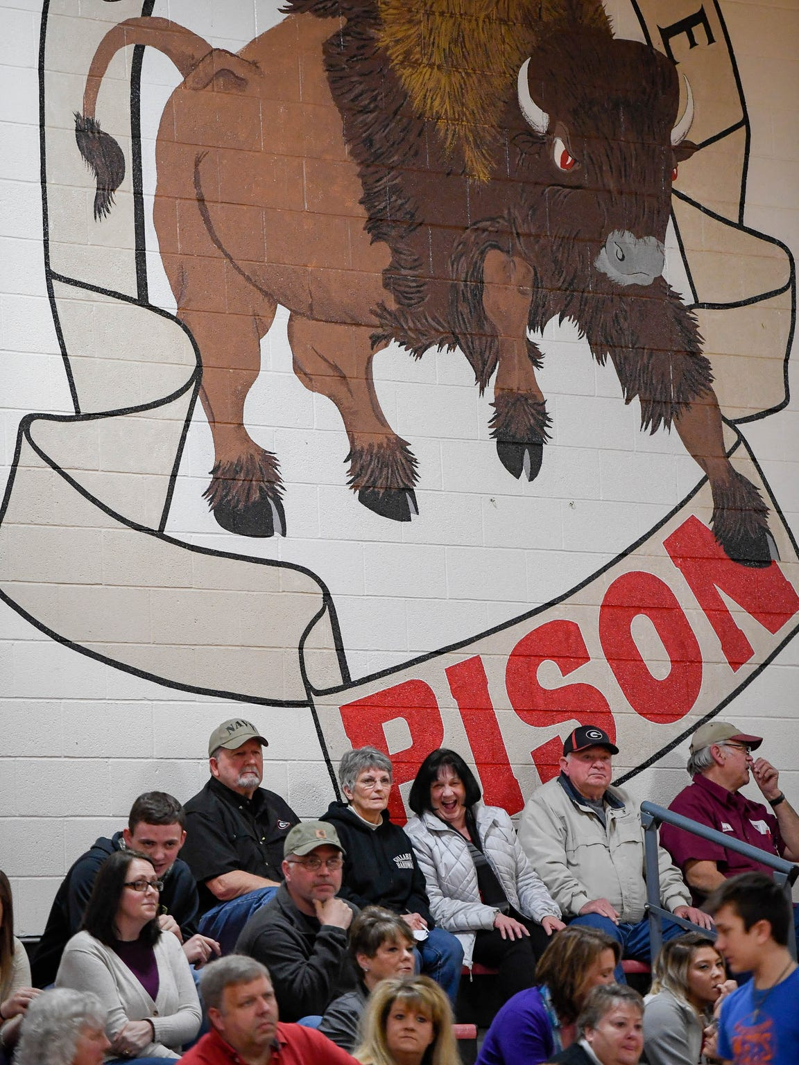 Community support in the stands at the Bison gym in