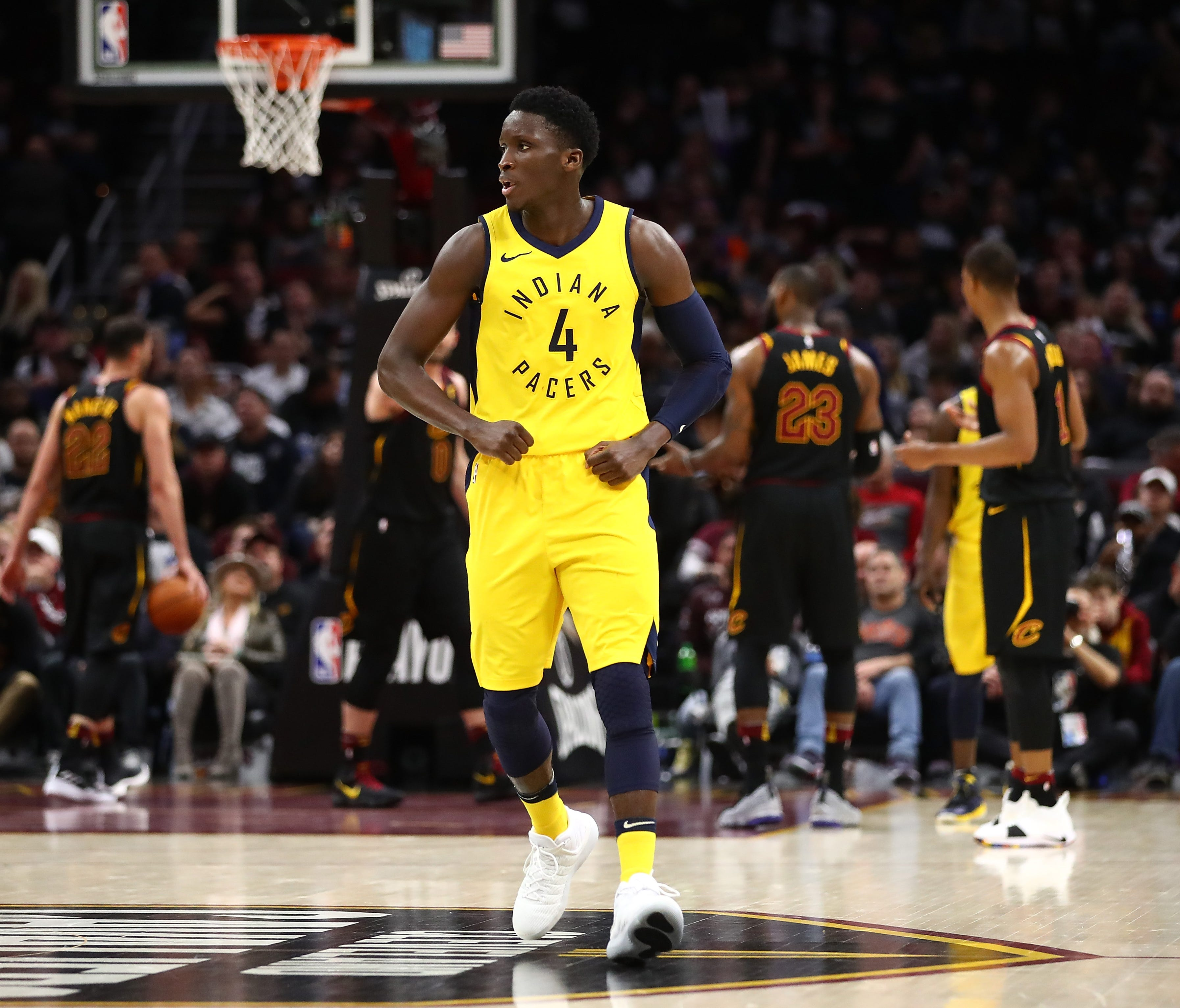 Victor Oladipo of the Indiana Pacers reacts to a fourth quarter three-point basket.