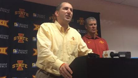 Jamie Pollard addresses the media after Iowa State's 37-20 loss at Oklahoma State on Saturday.