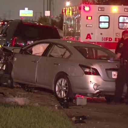Police respond to the scene of the crash.