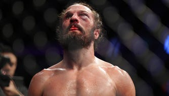 Josh Samman reacts after his fight against Tim Boetsch, a loss and the last night before his death in October.