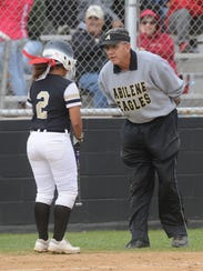 Abilene High coach Jim Reese, right, talks to Sierra