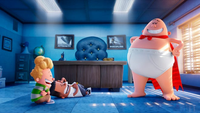 "This image released by DreamWorks Animation shows, from left, Harold, voiced by Thomas Middleditch, George, voiced by Kevin Hart and Captain Underpants, voiced by Ed Helms, in a scene from ""Captain Underpants: The First Epic Movie."" (DreamWorks Animation via AP)"