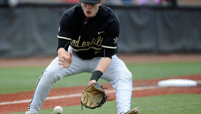 Vanderbilt third baseman Will Toffey is out with a shoulder injury.
