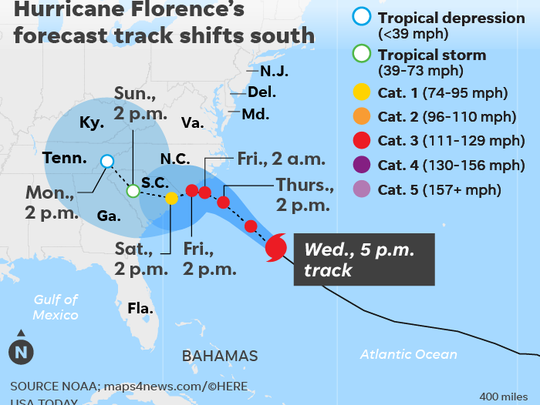 Map tracks hurricane Florence's predicted path.