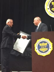 Ashland City Police Chief Marc Coulon was honored at