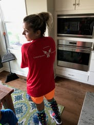 Grace Kassander wore her training T-shirt from the