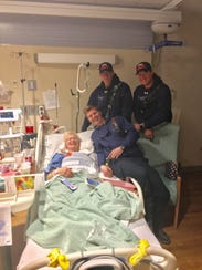 Irene Mason got a pick-me-up from three firefighters
