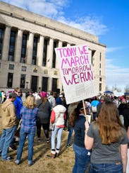 Marchers gather during the Women's March at Public