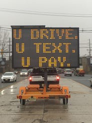 Linden police have posted a sign reminding drivers