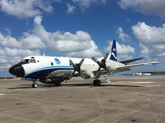 The NOAA Lockheed WP-3D Orion between journeys into