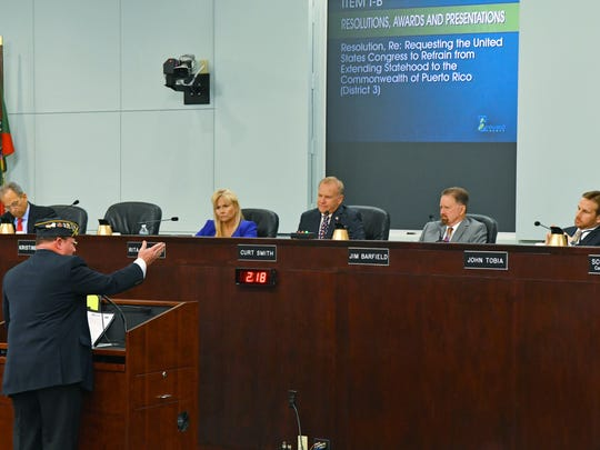 Brevard County commissioners said Tuesday they are ready to name interim County Manager Frank Abbate, left, as county manager. Also on the dias are, from left, Vice Chair Rita Pritchett, Chairman Curt Smith, and Commissioners Jim Barfield and John Tobia.