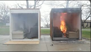 Fire officials stress the importance of caring for your Christmas tree by showing how fast a dried tree, on the right, can burn compared to a tree that has been watered properly.