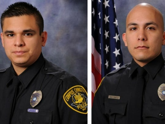 Officer Gabriel Cantu (left), who has been with the