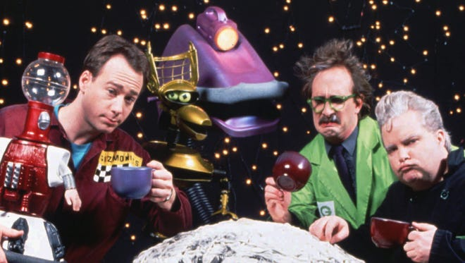 "The cast of ""Mystery Science Theater"" circa 1992, one year prior to creator Joel Hodgson's final show."