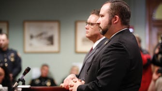 Butler County state Rep. Wes Retherford appears in court for a preliminary hearing Wednesday at Butler County Area 2 Court in Hamilton, Ohio. He is accused of drunken driving and improperly handling a firearm.